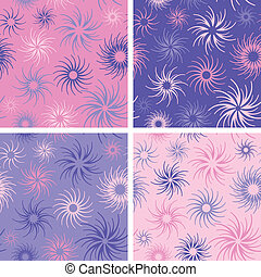 Fire Flower Pattern Pink-Lavender - Abstract floral seamless...
