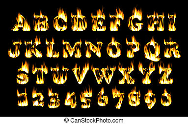 Fire font, alphabet of flame.