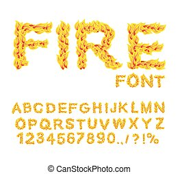 Fire font. Burning ABC. Flame Alphabet. Fiery letters.  Hot typography. blaze lettring