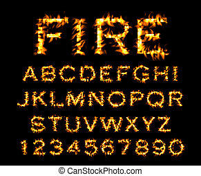 Fire font collection, alphabet of flame.