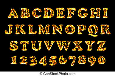 Fire font collection, alphabet of flame. Fire burning letters set.