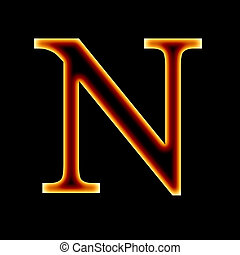 fire font: letter N on a dark background