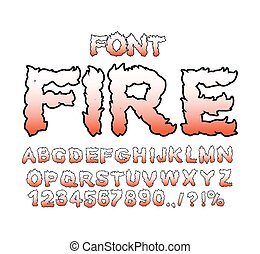 Fire font. Flame ABC. Fiery letters. Burning alphabet. Hot...