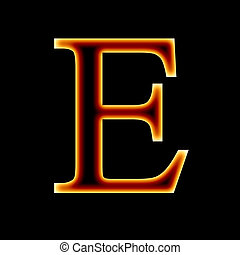fire font: letter E on a dark background