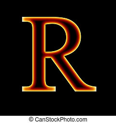 fire font: letter R on a dark background