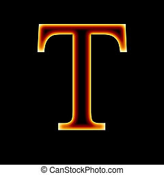 fire font: letter T on a dark background