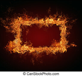 Fire frame with free space for text. isolated on black...