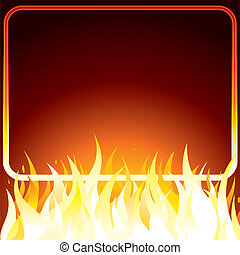 Fire Frame. Vector Image with Free Space