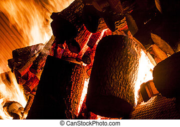 Fire from wood in industrial stove