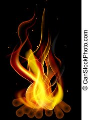 fire from wood logs - Fire from wood logs, vector art...