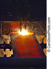 Fire gas cutting steel plate