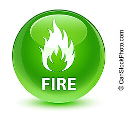 Fire glassy green round button