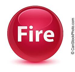 Fire glassy pink round button