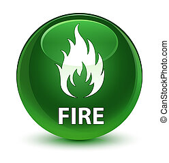 Fire glassy soft green round button
