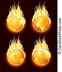 Fire Globe - Burning planet earth, vector illustration