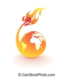 fire globe - planet earth being consumed by a flame , vector...