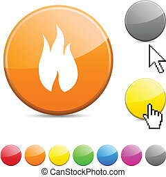 Fire glossy button.
