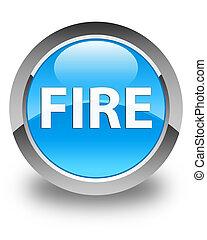 Fire glossy cyan blue round button