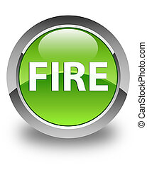 Fire glossy green round button