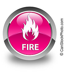 Fire glossy pink round button