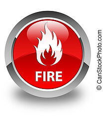 Fire glossy red round button