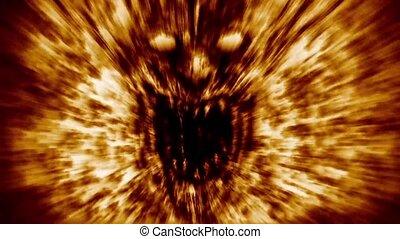 fire., gniewny, twarz, krzyki, demon