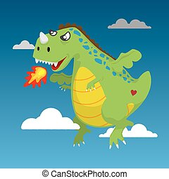 Fire Green Dragon flying in the sky. Cute cartoon vector style.