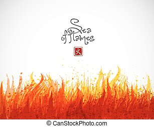 Fire grunge splash with place for your text on white background. Vector illustration.