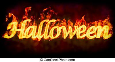 Fire Halloween inscription, 3D rendering