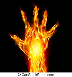 Fire hand on black background for design