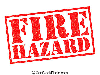 FIRE HAZARD red Rubber Stamp over a white background.