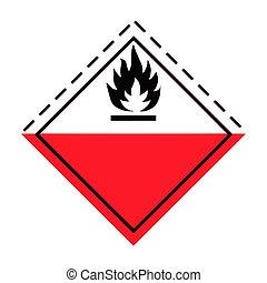 Fire hazard warning sign; isolated on white background.