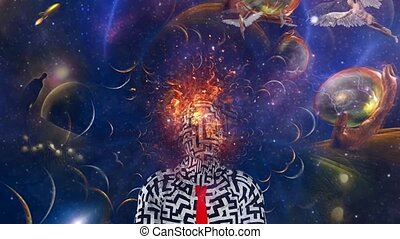 Fire head man in surreal scene with angels and stars