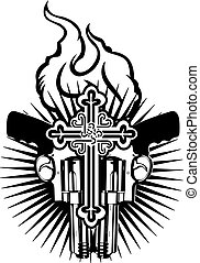 Fire Heart, Guns And Cross. Black And White Vector Illustration.