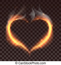 Fire heart on dark transparent background