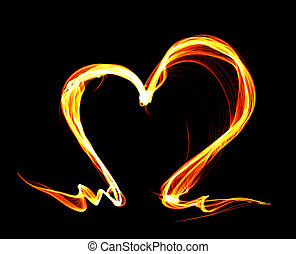 Fire heart - Orange fire heart isolated on black background