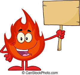 Fire Holding A Wooden Board