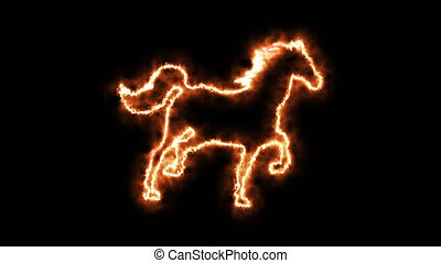 Fire horse animated in PNG format with ALPHA transparency...