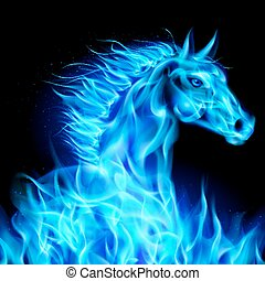Head of blue fire horse on black background.
