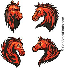 Fire horses mascots with tribal flame ornaments