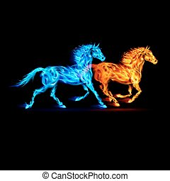Red and blue fire horses on black background.