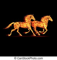 Two running fire horses on black background.