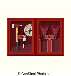 Fire hose cabinet on white background