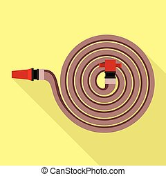 Fire hose icon, flat style