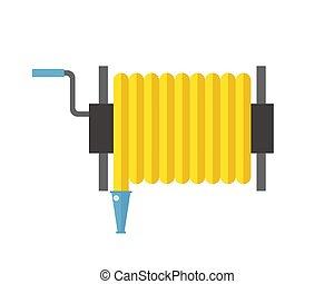 Fire hose reel vector illustration metal pressure prevention street hose water emergency equipment.