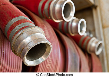 Fire hoses on a fire truck