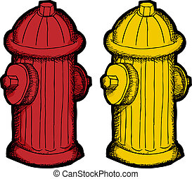 Fire Hydrant Cartoon - Red and yellow fire hydrant...