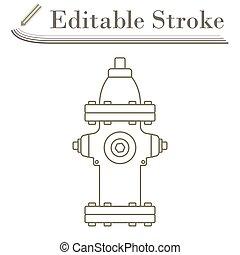 Fire Hydrant Icon. Editable Stroke Simple Design. Vector Illustration.
