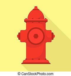 Fire hydrant icon, flat style