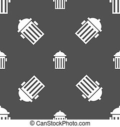 fire hydrant icon sign. Seamless pattern on a gray background. Vector